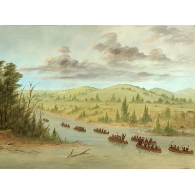 grafika-Puzzle - 2000 pieces - George Catlin: La Salle's Party Entering the Mississippi in Canoes. February 6, 1682, 1847-1848
