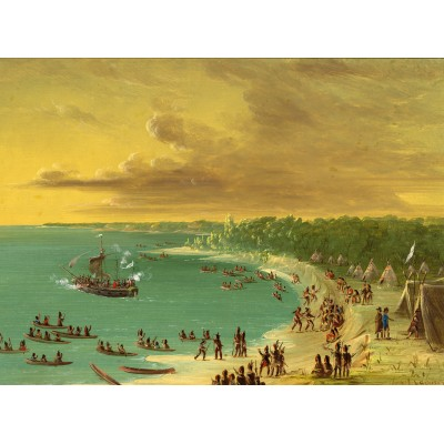 grafika-Puzzle - 2000 pieces - George Catlin: First Sailing of the Griffin on Lake Erie. August 7, 1679, 1847-1848