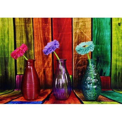 Puzzle  Grafika-T-00859 Flowered and Colorful Vases