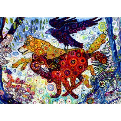 grafika-Puzzle - 500 pieces - Sally Rich - Wolves in a Blue Wood