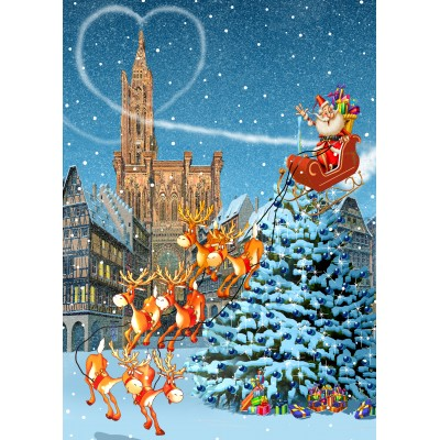 grafika-Puzzle - 500 pieces - Strasbourg Cathedral at Christmas