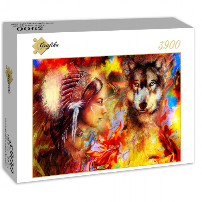 Puzzle Grafika-02675 The Indian Woman and the Wolf