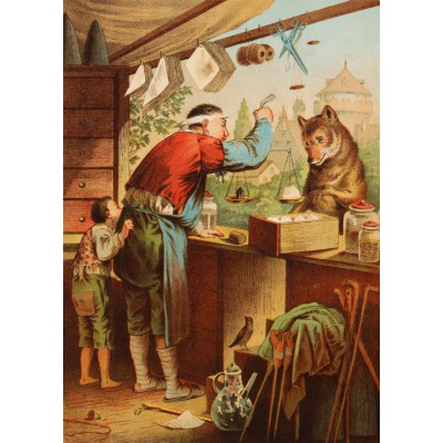 grafika-Puzzle - 24 pieces - Magnetic Pieces - The Wolf and the Seven Young Kids, illustration by Carl Offterdinger