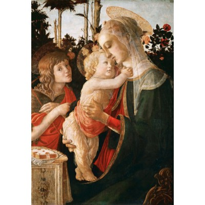 grafika-Puzzle - 100 pieces - Sandro Botticelli: Virgin and Child with Young St John the Baptist, 1470-1475