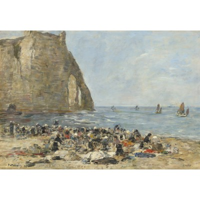 grafika-Puzzle - 100 pieces - Eugène Boudin: Washerwomen on the Beach of Etretat, 1894