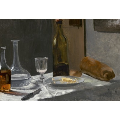 grafika-Puzzle - 12 pieces - XXL Pieces - Claude Monet - Still Life with Bottle, Carafe, Bread, and Wine, 1863