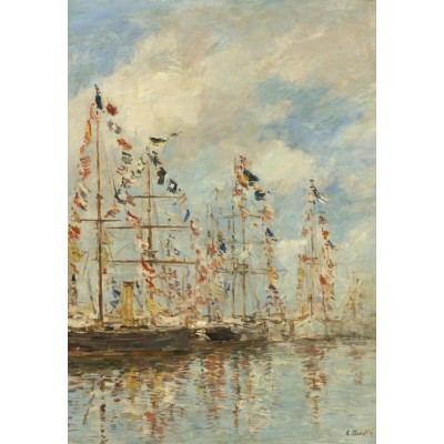 grafika-Puzzle - 100 pieces - Eugène Boudin - Yacht Basin at Trouville-Deauville, 1895/1896