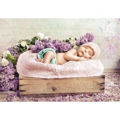 grafika-Puzzle - 100 pieces - Konrad Bak: Baby sleeping in the Lilac