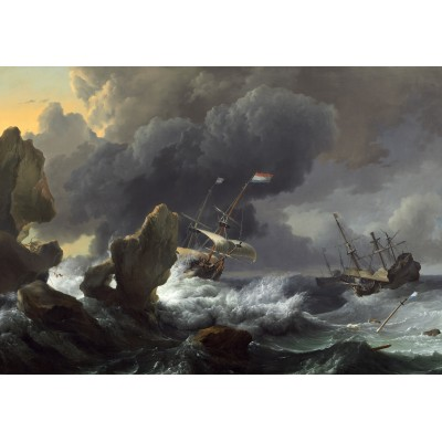 grafika-Puzzle - 100 pieces - Ludolf Backhuysen: Ships in Distress off a Rocky Coast, 1667