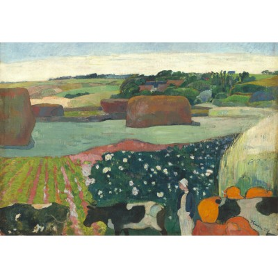 grafika-Puzzle - 100 pieces - Paul Gauguin: Haystacks in Brittany, 1890