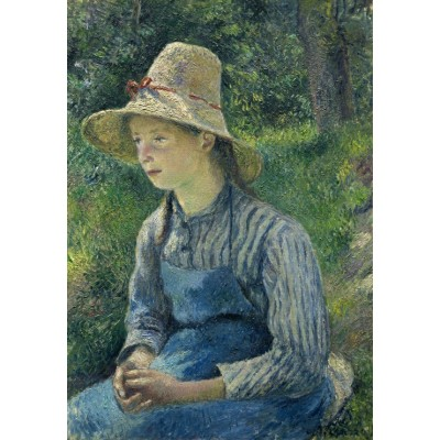 grafika-Puzzle - 100 pieces - Camille Pissarro: Peasant Girl with a Straw Hat, 1881