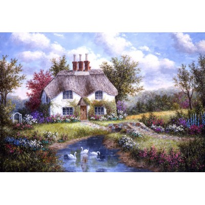 grafika-Puzzle - 12 pieces - XXL Pieces - Dennis Lewan - Swan Creek Cottage