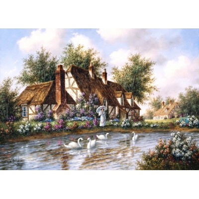 grafika-Puzzle - 24 pieces - Magnetic Pieces - Dennis Lewan - Admiring The Swans