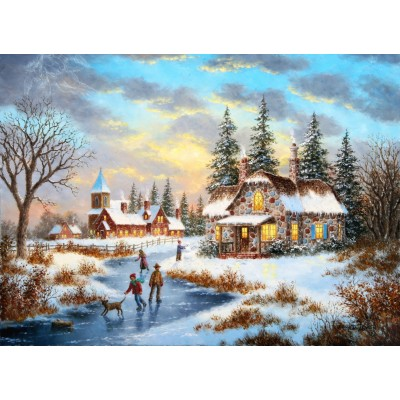 grafika-Puzzle - 300 pieces - Dennis Lewan - A Mid-Winter's Eve