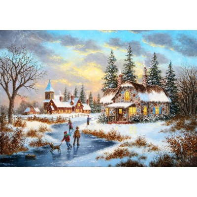grafika-Puzzle - 100 pieces - Dennis Lewan - A Mid-Winter's Eve