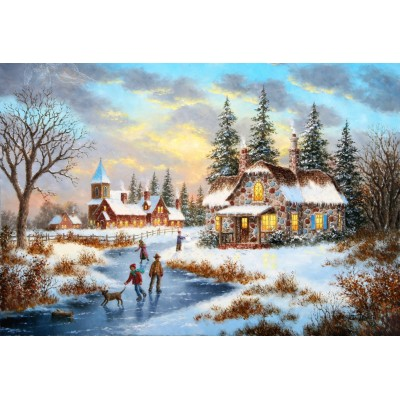grafika-Puzzle - 12 pieces - XXL Pieces - Dennis Lewan - A Mid-Winter's Eve
