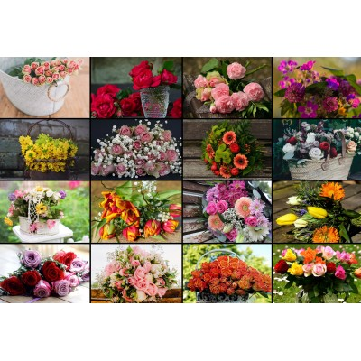 grafika-Puzzle - 12 pieces - XXL Pieces - Collage - Flowers