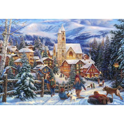 grafika-Puzzle - 100 pieces - Chuck Pinson - Sledding To Town