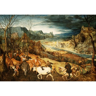 grafika-Puzzle - 100 pieces - Brueghel Pieter - The Return of the Herd, 1565