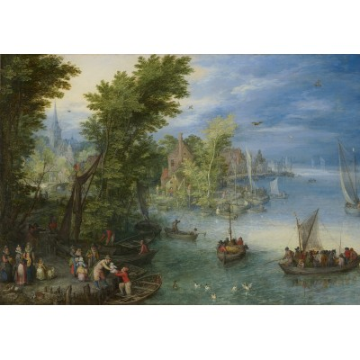 grafika-Puzzle - 100 pieces - Jan Brueghel - River Landscape, 1607