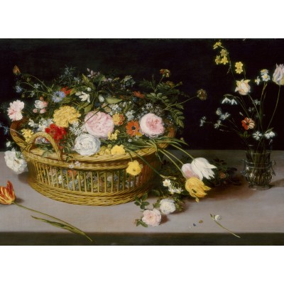 grafika-Puzzle - 300 pieces - Jan Brueghel - Flowers in a Basket and a Vase, 1615