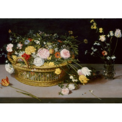 grafika-Puzzle - 100 pieces - Jan Brueghel - Flowers in a Basket and a Vase, 1615