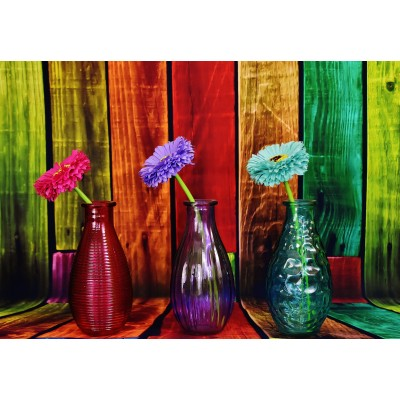grafika-Puzzle - 100 pieces - Flowered and Colorful Vases