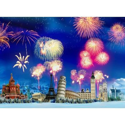 grafika-Puzzle - 300 pieces - New Year's Eve around the World