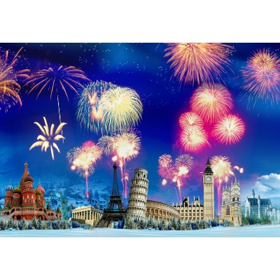 grafika-Puzzle - 100 pieces - New Year's Eve around the World