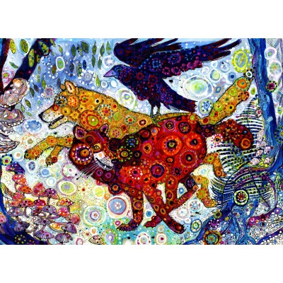 grafika-Puzzle - 300 pieces - Sally Rich - Wolves in a Blue Wood