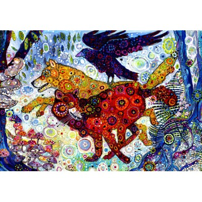grafika-Puzzle - 100 pieces - Sally Rich - Wolves in a Blue Wood