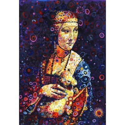 grafika-Puzzle - 100 pieces - Leonardo da Vinci: Lady with an Ermine, by Sally Rich