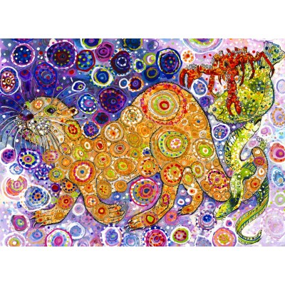 grafika-Puzzle - 300 pieces - Sally Rich - Otters Catch