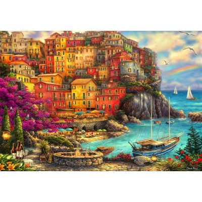 grafika-Puzzle - 100 Teile - Chuck Pinson - A Beautiful Day at Cinque Terre