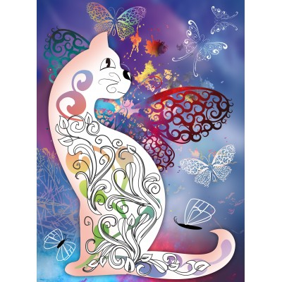 grafika-Puzzle - 80 pieces - Wooden Jigsaw Puzzle - The Cat with the Butterflies