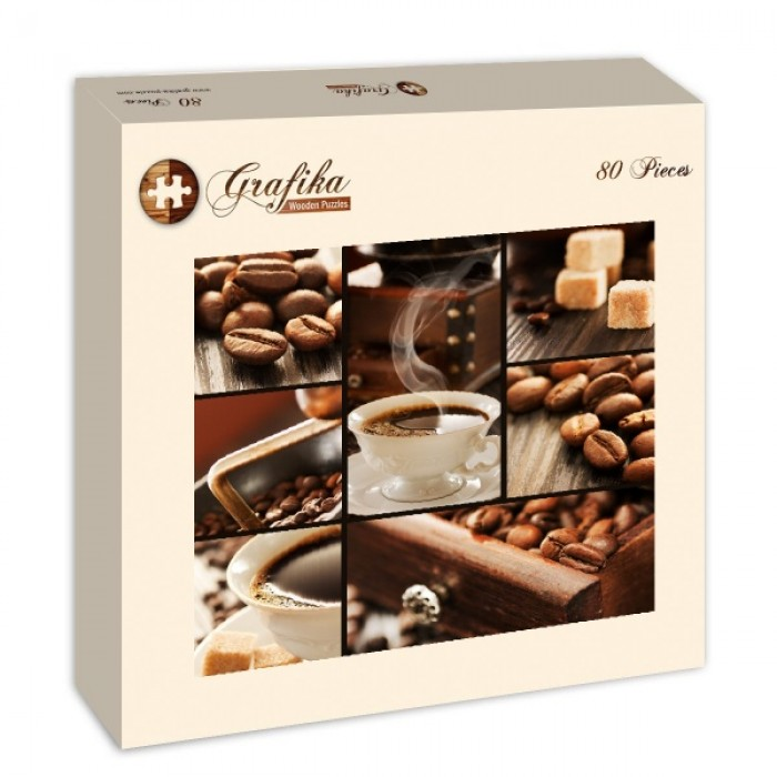 Grafika-Wood-00021 Wooden Jigsaw Puzzle - Coffee Collage